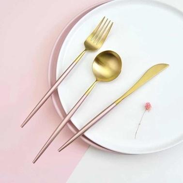Pink&More 36 Parça Mat Altın Rose Çatal Bıçak Seti Altın